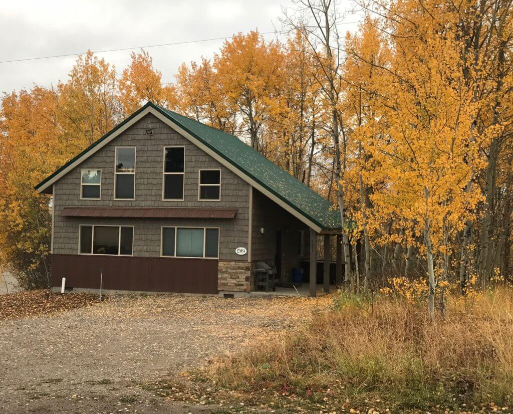 Island Park Cabin Rental with fall leaves